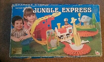 Vintage Train Set -Jungle Express Train Set - Vintage Battery Operated Toy Train