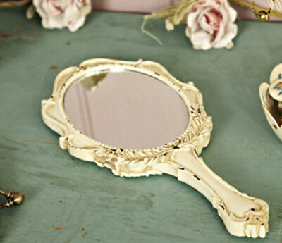 Large Cream Handheld Mirror Antique French Vintage Shabby Chic Romantic Gift NEW