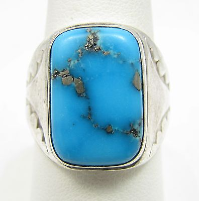 Vintage Navajo Morenci Turquoise Sterling Silver Ring Size 9