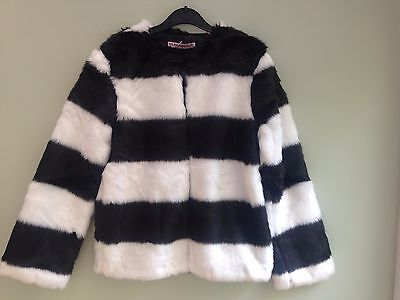 Girls Age 11/12 Years Faux Fur Jacket Black/ White Block Stripe Fully Lined Bnwt