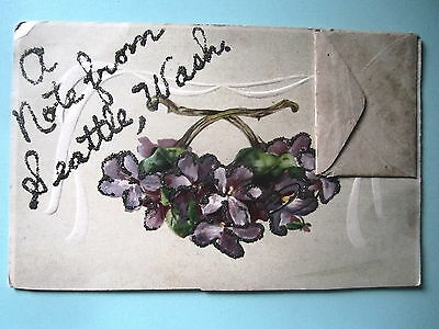 A Note From Seattle, Washington. Embossed Art Nouveau Postcard. Unposted.