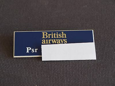 British Airways Cabin Crew Purser Plastic Name Badge