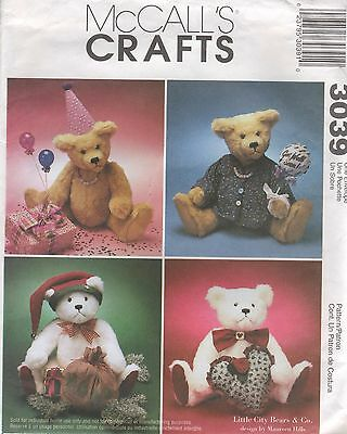 """*Adorable 18"""" Jointed TEDDY BEAR Pattern McCall's Crafts 3039 Uncut"""