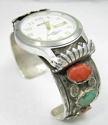 Vintage Navajo VJC Signed Turquoise & Coral Sterling Silver Bracelet Watch Cuff