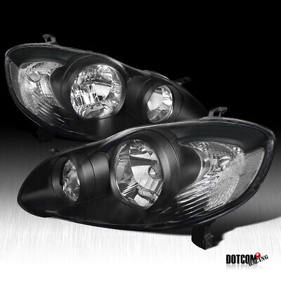 For 2003-2008 Toyota Corolla JDM Black Clear Front Headlights Driving Head Lamps