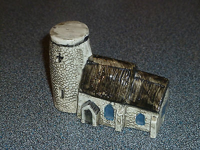 Tey Pottery Miniature Church with Round Tower. House, Cottage