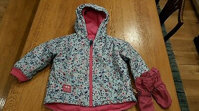 Jojo maman bebe fleece waterproof coat with gloves 3-4rs