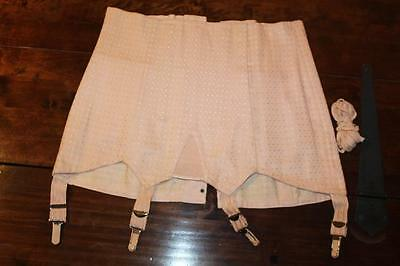 """Vintage Firm Support Brocade Lace Up Corset Size 30"""" Waist"""