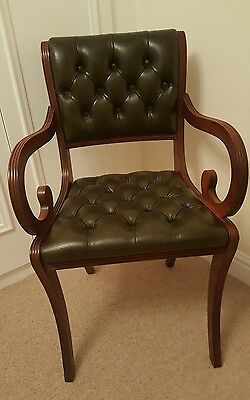 quality antique style chesterfield green leather captains chair desk chair