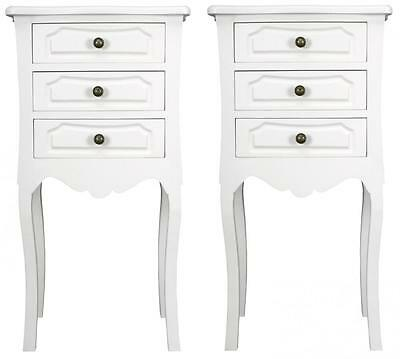 Set of 2 Elegant French Style 3 Drawer WHITE BEDSIDE TABLES cabinets shabby/chic