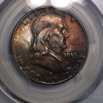 1955 Franklin Half Dollar PCGS MS65 Toned