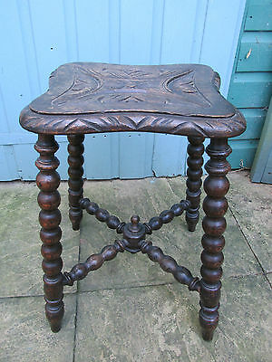 Antique bobbin turned side table,stool Carved
