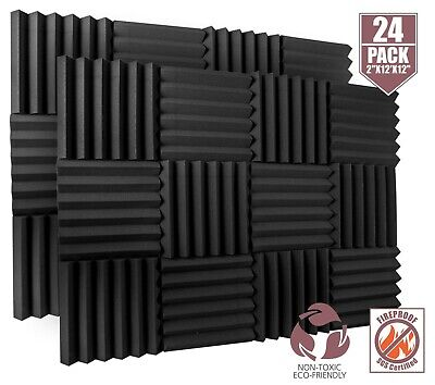"A2S 24 Pack Acoustic Foam Tiles 2"" X 12"" X 12"" Sound Insulation Wedge Fireproof"