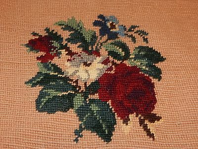 vintage needlepoint rose floral flowers pillow part craft retro