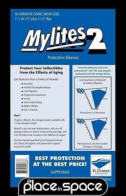 """50 CURRENT COMIC SIZE MYLITES 2 PROTECTIVE SLEEVES - 7"""" x 10 1/2"""" (SUPPLY668)"""