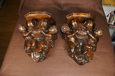 Pair Of Victorian Type Cupid Putti Carved Shelves Sconces
