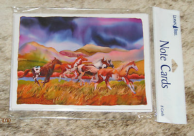 LEANIN TREE Paint Horses Running in Colorful Scene #35468~PAK OF 8 NOTECARDS