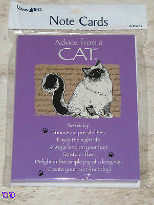 LEANIN TREE Advice from a Cat~Create your purr-fect day #35848~8 Notecards Blank