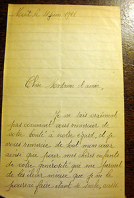 1921 French France Handwritten Letter Note Antique