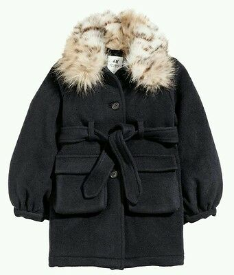 H&m studio collection girls black wool blend coat with fur size 5-6years old