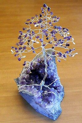 11.5 inch- Magnificent AMETHYST gem tree on a natural AMETHYST crystal Geode