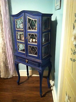Antique Georgian Style Painted Cabinet Display Or Collector's Cabinet Louis XVI