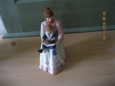 Vintage Homco 8858 Porcelain Bisque Edwardian Mother Reading Book to Young Son