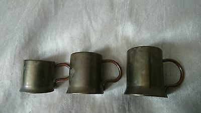 Vintage Small Brass Tankards Shot Measuers Ornament ?