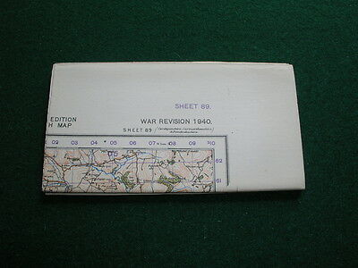 Ordnance Survey Map War Revision 1940 Sheet 89 Carmarthen Linen