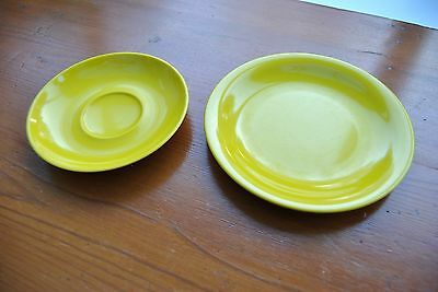 Melaware duo in bright yellow Melaware  - plate and saucer - used condition