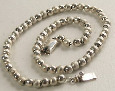"Taxco Mexico Artisan 16"" Sterling Silver 6mm Bead Necklace 36 grams"