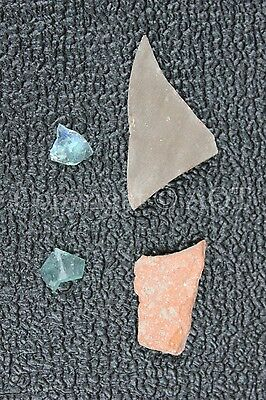 2 Pottery & 2 Glass Shards - Caesarea Maritima - WWII Veteran's Souvenirs