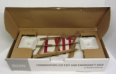 Lot of 2 NEW DMF Lighting DLC450R LED Exit Emergency Sign RED Letters Battery