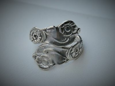 Vintage Silver Scrolled Daisy Flower Spoon Wrap Ring Size 6 3/4