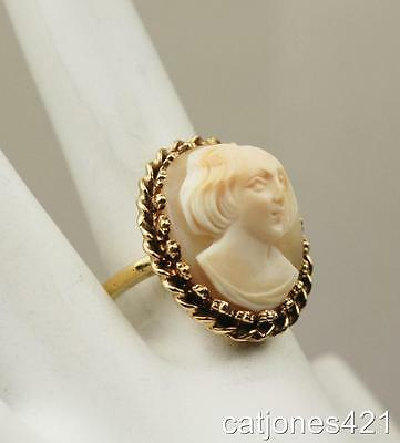 14K Estate Cameo Ring Of A Girl