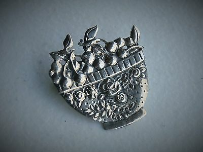 """Mary Englebreit 1 1/8"""" Sterling Silver Life is a Bowl of Cherries Brooch Pin"""