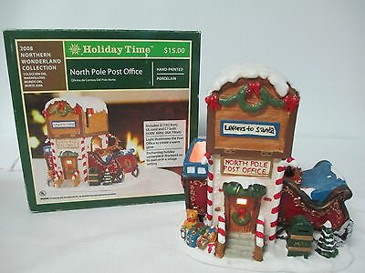 HOLIDAY TIME 2008 North Pole Post Office Collectable Ceramic Building