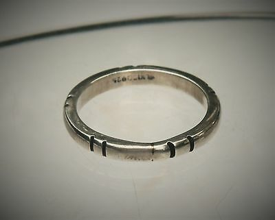 Mexico Artisan Sterling Silver Thin Etched Band Ring Size 13