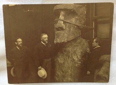Signed 1887 Samuel P. Langley EASTER ISLAND Statues at SMITHSONIAN INST. Photo