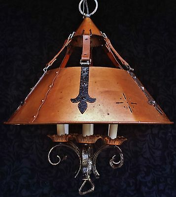 Vtg Copper Gilt Tole French Bouillotte Chandelier Colonial Hammered Iron Leather