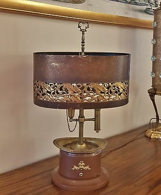Beautiful Vintage French Empire Bouillotte Lamp Pierced Leaf Metal Tole Shade
