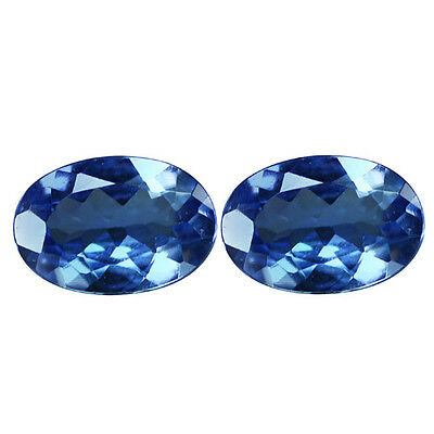 0.93Ct (2Pcs) Pair Incomparable Oval Cut 6 x 4 mm Purple Blue Tanzanite
