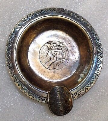 Antique Hand Wrought .900 Silver PERU ASHTRAY by Welsch with King & 1/5 Sol COIN