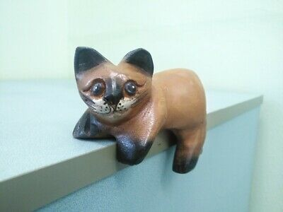 Cat Carved Hand Wood Wooden Sculpture Decor Home  Painted Figurine