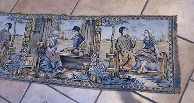 Vintage Tapestry Wall Hanging Woven Textile Dutch CHILDREN  Scene