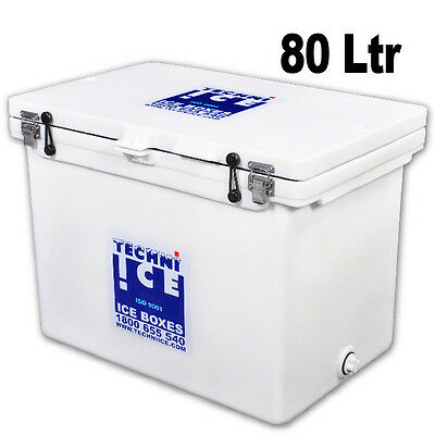 80L WHITE NEW Techni ice cooler box chest 5–16 Day Rated FISHING CAMPING