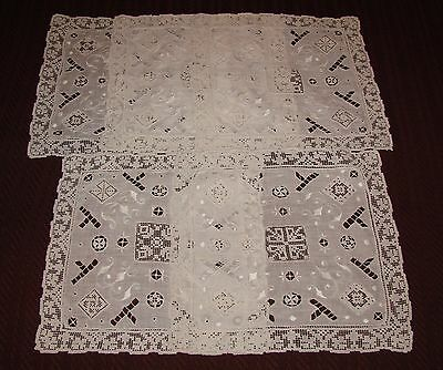 5 Antique Embroidered, Cutwork and Filet Net Lace Doilies, w/ Needlelace Inserts