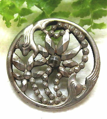 Beautiful Art Nouveau Cut Steel Flower Button W/ Open Work Design Q4