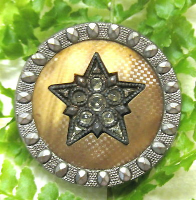 Victorian Jewel Buffed Celluloid Button W/ Star Design Q31