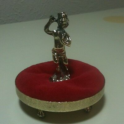 Vintage 1960s Gold Ormolu Red Velvet Footed Thimble Holder 3""